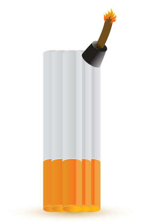 hazard tape: cigarette bomb illustration design over white background