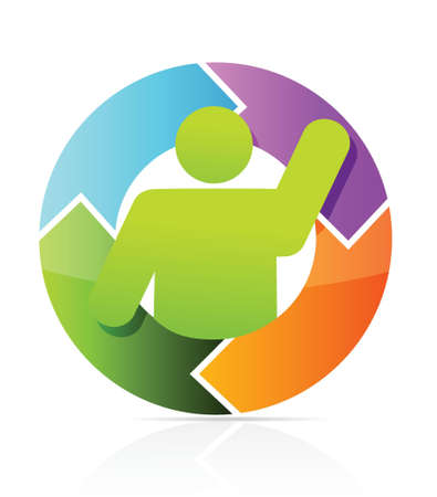 interactions: icon cycle illustration design over white background Illustration