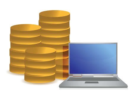 coins and laptop illustration design over white background Vector