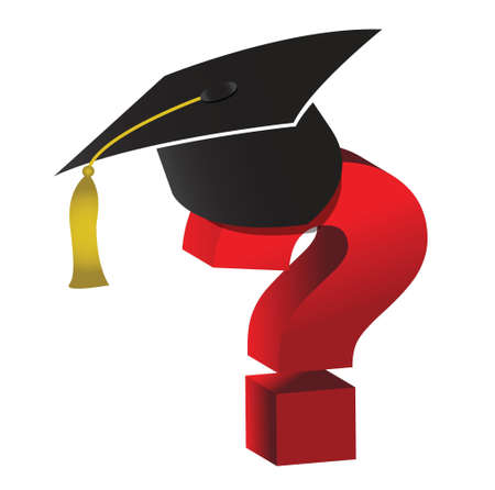 onderwijs onbekend vraagteken illustratie ontwerp op wit Stock Illustratie
