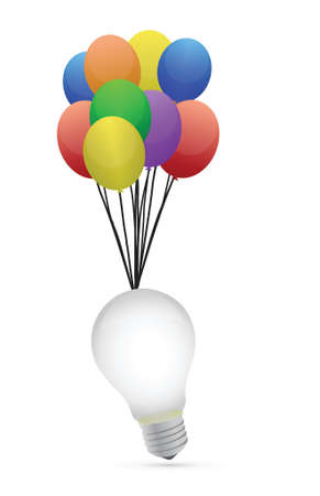 idea lightbulb and colorful bubbles over white background