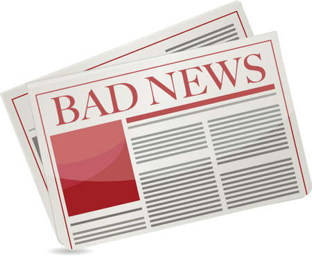 news current events: bad news newspaper illustration design over white background