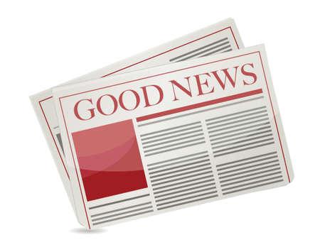 흰색 배경 위에 좋은 소식 신문 그림 디자인 일러스트