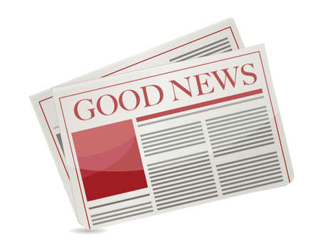 print media: good news newspaper illustration design over white background