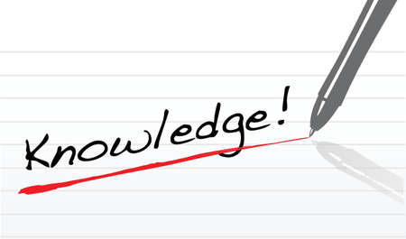 knowledge written on a notepad paper and a pen illustration Иллюстрация