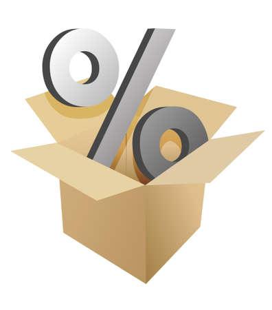 box and percentage illustration design over white background