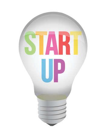 sponsorship: start up lightbulb illustration design over white background Illustration