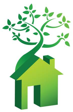 immovable property: house and tree illustration over white background