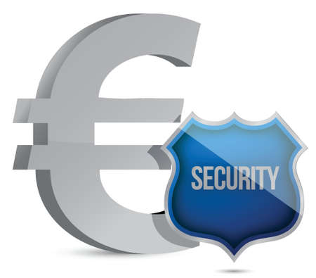 Euro protected concept illustration design over white Vector