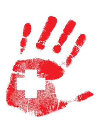 red handprint with a cross inside illustration design Vector