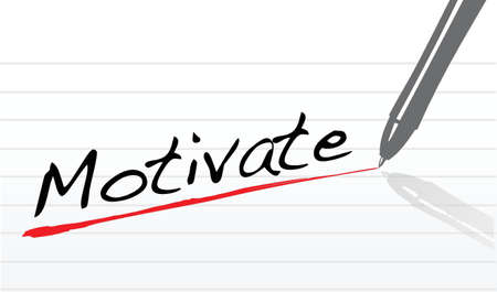 notepad paper with the word motivate written - illustration
