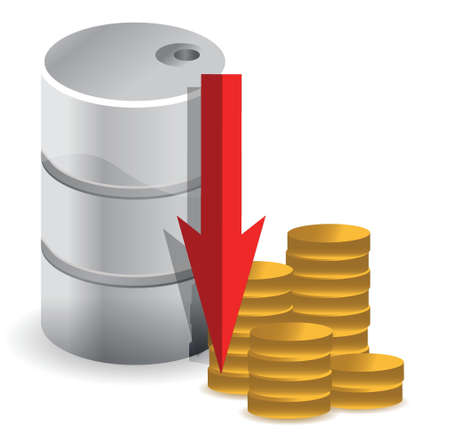 export import: oil prices falling illustration design concept over white