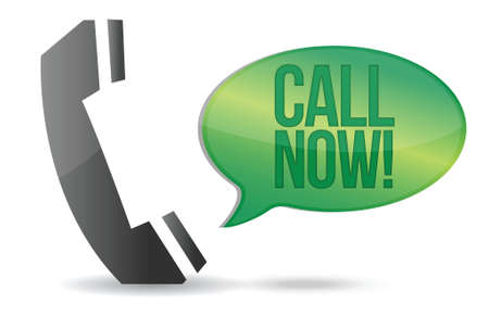 customer service phone: call now phone sign illustration design over white Illustration