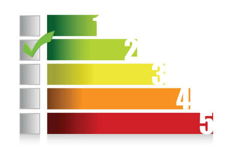 energy ranking: colorful graph illustration and checkmark design over white Illustration