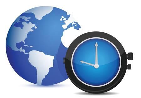 internet speed: globe watch illustration design over white background