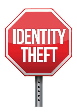 vulnerability: identity theft sign illustration design over white background