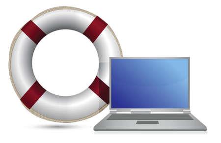 sos lifesaver laptop illustration design over white Stock Vector - 15988097