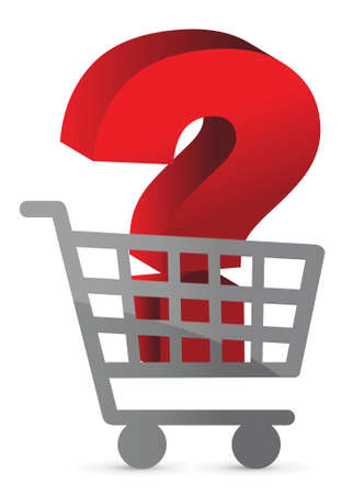 question mark inside a shopping cart illustration design Vector