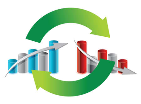up and down graph cycle illustration design over white