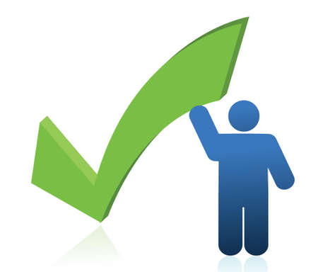icon holding a check mark illustration design over white