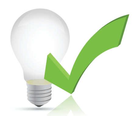 affirmative: light bulb and check mark illustration design over white Illustration