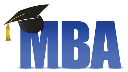 MBA graduation tassel hat over white background illustration Çizim