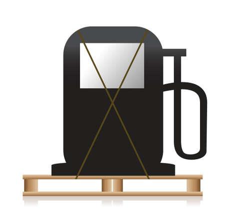 oliedrum: benzinepomp over een houten pallet illustratie ontwerp Stock Illustratie