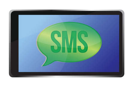 tablet receiving an sms illustration design over white Stock Vector - 16035413