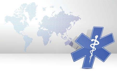 medical symbol and map illustration design background Иллюстрация