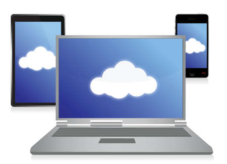 cloud computing electronic concept design over white
