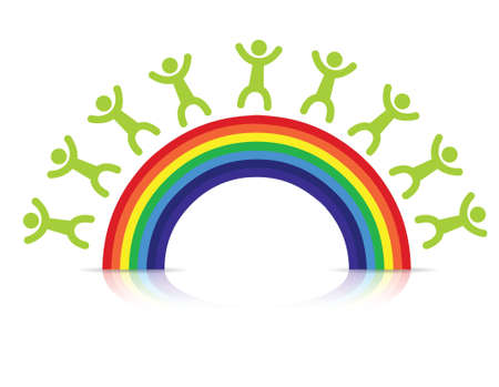 people around a rainbow illustration design over white