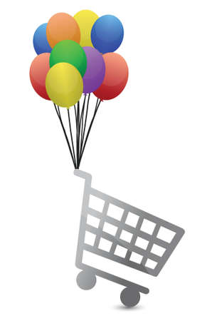 shopping cart flying away illustration design over white 向量圖像