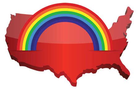 lgbt: us map with a rainbow illustration design