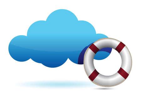 cloud computing SOS redder in nood illustratie ontwerp over wit Stock Illustratie