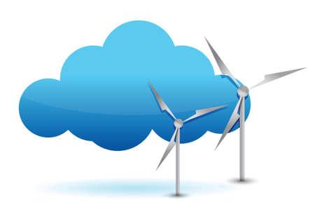 クラウド ・ コンピューティングと白で風車のイラスト デザイン