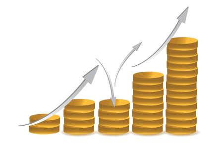 falling money: business coin illustration design over white background