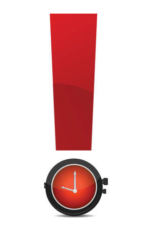 exclamatory: exclamation and watch illustration design over white background Illustration