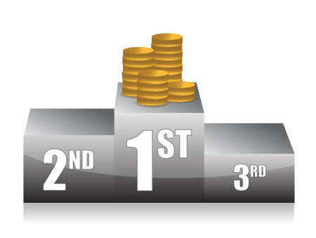 cheapness: podium with coins illustration design over white
