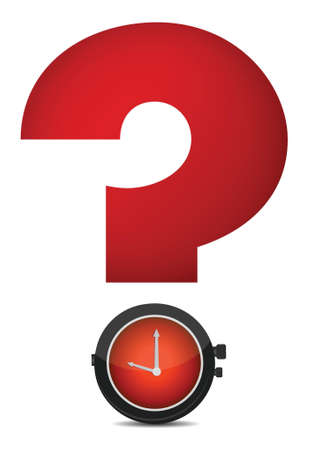 red question mark and watch illustration design Illustration