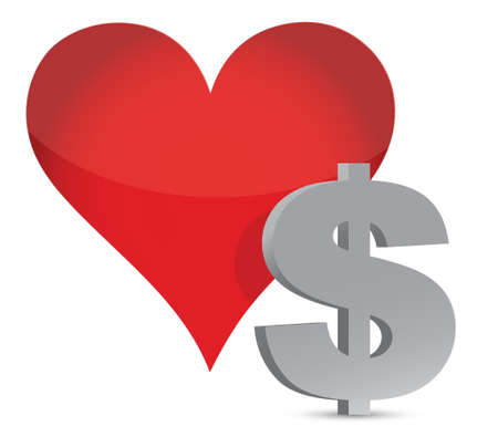one dollar bill: money heart currency illustration design over white Illustration