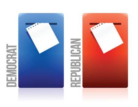 voting ballot: papeleta de votaci�n dem�crata y republicano dise�o ilustraci�n