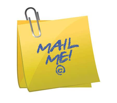 mail me: mail me post it illustration design over white