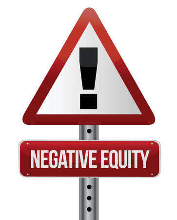 equity: negative equity sign illustration design over white