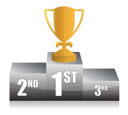 rank: gold trophy cup 1st place illustration design Illustration