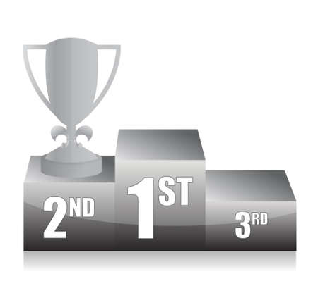 silver medal: silver trophy cup 2nd place illustration design