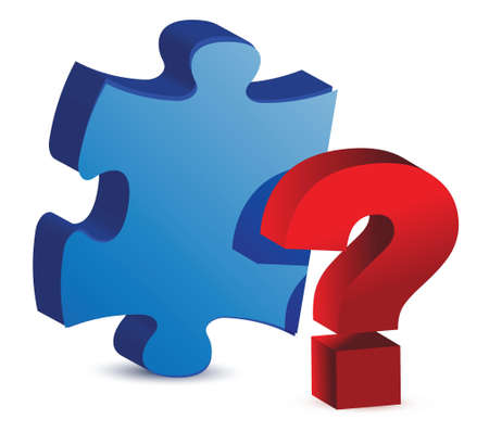 concepts and ideas: question mark puzzle piece illustration design over white Illustration