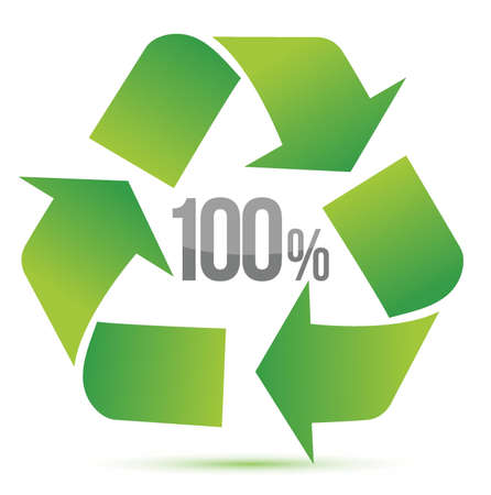 100  recycle illustration symbol design over white background Vector