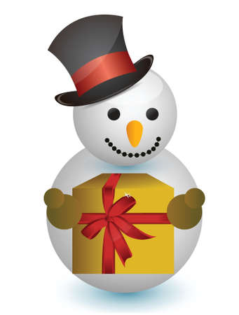 snowman with hat and gift illustration design