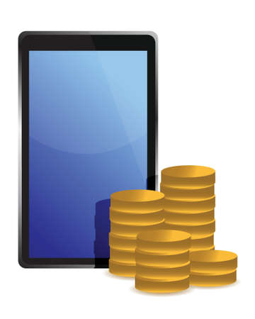tablet and coins around illustration design over white Vector