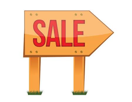 wooden sale sign illustration design over white Stock Vector - 16116841